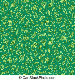 Yellow carnival symbols in doodle style on green background, vector seamless pattern