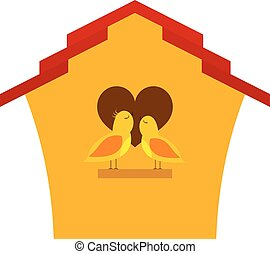 Yellow Cartoon birdhouse with birds. Two birds in front of his home singing a song of love.