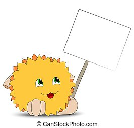 Yellow cartoon character holding a poster