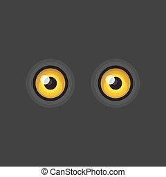 Yellow Cartoon Eyes on Dark Background. Vector illustration
