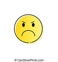 Yellow Cartoon Face Angry People Emotion Icon Vector...