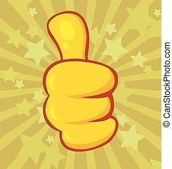 Yellow Cartoon Hand Giving Thumbs Up Gesture