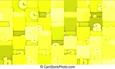 yellow cartoon letter paper card on square mosaics,Children spelling game.