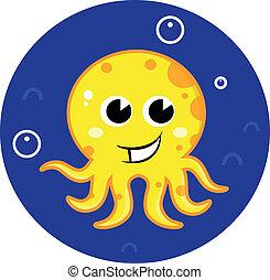 Yellow cartoon octopus in sea water