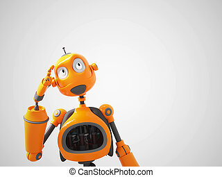 Yellow cartoon robot thinking about something.