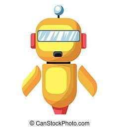Yellow cartoon robot vector illustration on white background.