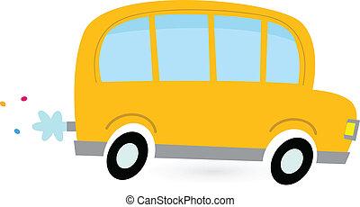 Yellow cartoon school bus isolated on white