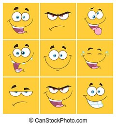 Yellow Cartoon Square Emoticons With Expression Set 2. Collection