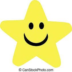 Yellow cartoon star with smiling face