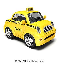 Yellow cartoon taxi - 3d render cartoon car