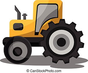 Yellow cartoon tractor vector illustration on white background.