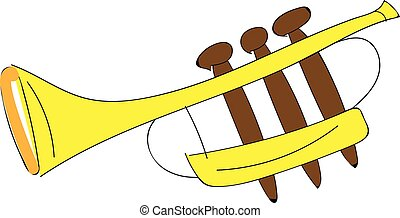 Yellow cartoon trumpet vector illustration on white background