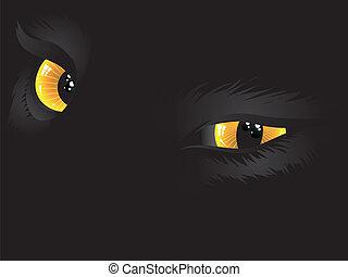 Yellow cat eyes in the dark