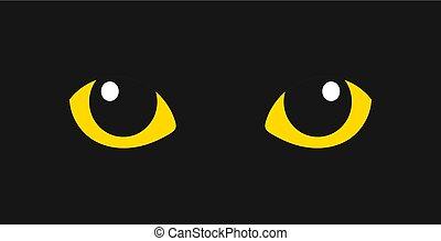 Yellow cat eyes in the dark.