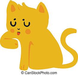 Yellow Cat Licking Paw