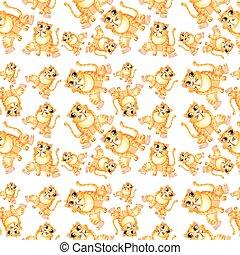 Yellow cat seamless pattern