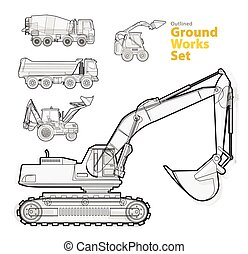 Yellow catalog set of ground works vehicles. Construction...