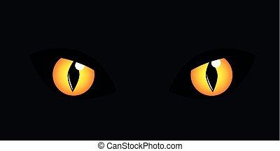 yellow cats eyes in the dark