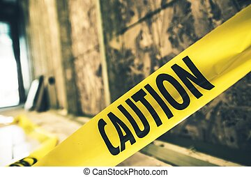 Yellow Caution Tape Closeup. Constriction Zone Safety.