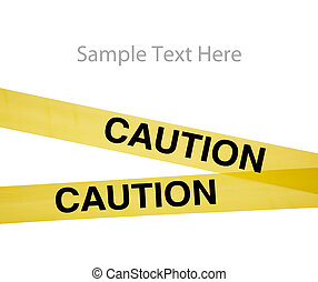 Yellow caution tape on a white background with copy space