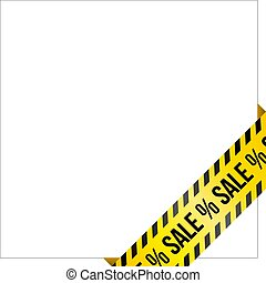 Yellow caution tape with words 'Sale'