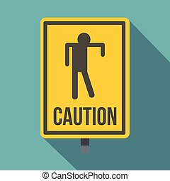 Yellow caution zombie sign icon, flat style