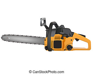 yellow chainsaw isolated on white background