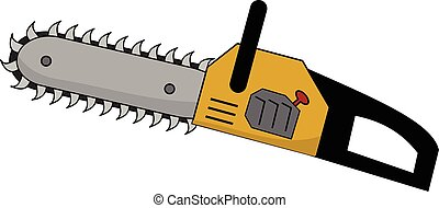 a cartoon chainsaw with big, scary teeth and a yellow handle.
