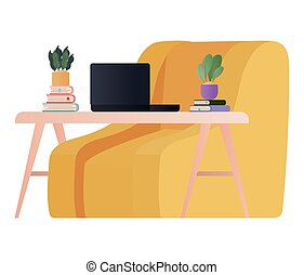 yellow chair with laptop on table vector design