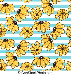 Yellow chamomile striped blue seamless pattern.