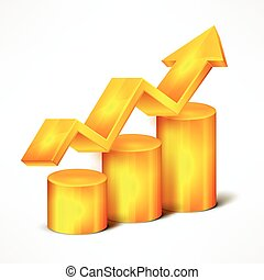 Yellow chart with arrow on white