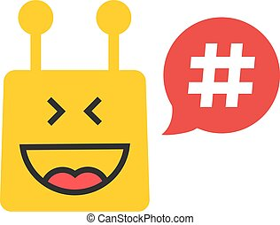 yellow chatbot with hashtag in red speech bubble