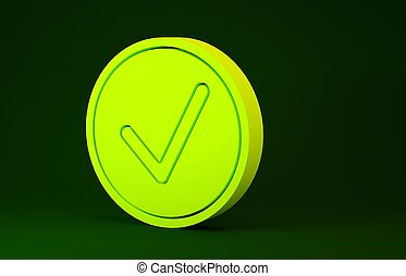 Yellow Check mark in circle icon isolated on green background. Choice button sign. Checkmark symbol. Minimalism concept. 3d illustration 3D render