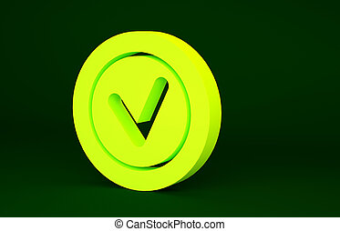 Yellow Check mark in round icon isolated on green background. Check list button sign. Minimalism concept. 3d illustration 3D render