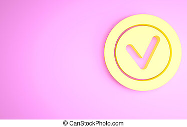 Yellow Check mark in round icon isolated on pink background. Check list button sign. Minimalism concept. 3d illustration 3D render
