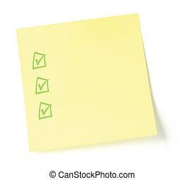Yellow Checklist Sticker