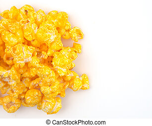 Yellow Cheddar Cheese Popcorn on a White Background