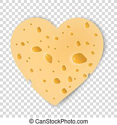yellow cheese. Valentine Day. cheese heart. vector