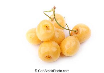 yellow cherries isolated on white background