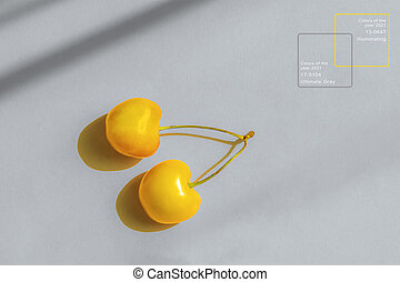 Yellow cherry on a gray background. Representation of the color of the year 2021