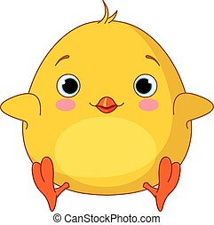 Yellow Chick  - Illustration of very cute fat chick