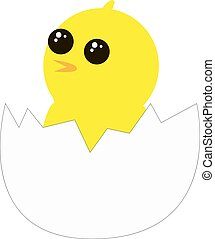 Yellow chick from egg, illustration, vector on white background.