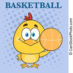 Yellow Chick Holding A Basketball