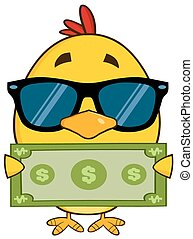 Yellow Chick Holding A Dollar Bill