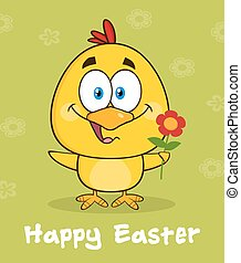Yellow Chick Holding A Flower