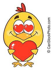 Yellow Chick Holding A Heart