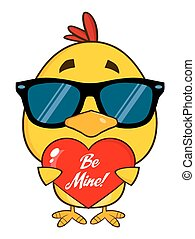 Yellow Chick Holding A Love Heart