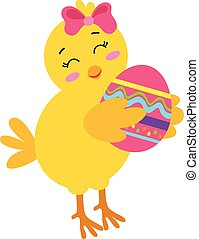 Yellow chick holding Easter egg