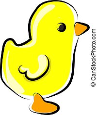 Yellow chick, illustration, vector on white background.