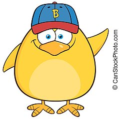 Yellow Chick With Baseball Hat